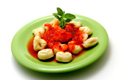 Cappelletti. Pasta stuffed with tomato sauce Stock Photography