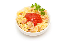 Cappelletti with tomato sauce Royalty Free Stock Photo