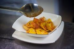 Cappelletti with Tomato Sauce Stock Photo