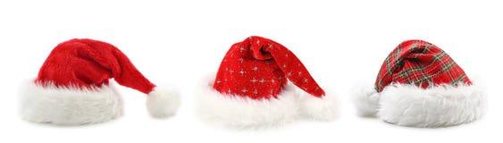 Cappelli del Babbo Natale Immagini Stock Libere da Diritti