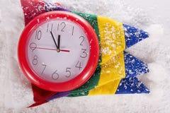 Cappelli di Elf ed orologi 12 Fotografia Stock Libera da Diritti