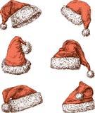 Cappelli di Santa Claus Fotografie Stock Libere da Diritti