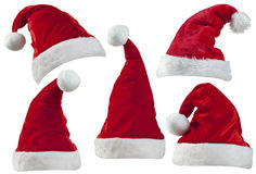 Cappelli di Santa di Natale Immagine Stock