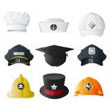 Cappelli differenti di professione Immagini Stock