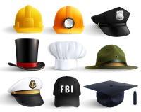 Cappelli differenti di professioni messi Fotografie Stock