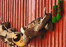 Cappelli fatti a mano della lana immagini stock libere da diritti