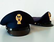 Cappelli italiani della polizia Fotografia Stock Libera da Diritti