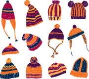 Cappelli lavorati a maglia Fotografie Stock