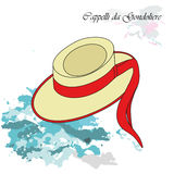 Cappelli. Vector illustration background or post card with traditional hat of gondolier Royalty Free Stock Photo