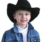Cappello adorabile del cowboy di quattro anni Fotografia Stock