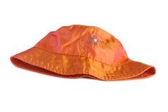 Cappello arancio della donna con ricamo Fotografia Stock Libera da Diritti