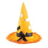 Cappello arancio della strega del tessuto per Halloween Fotografia Stock Libera da Diritti