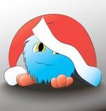 Cappello blu di natale del fumetto sveglio del mostro Fotografia Stock Libera da Diritti