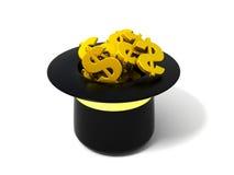 Cappello con i segni del dollaro Fotografia Stock Libera da Diritti