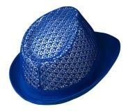 cappello con un bordo Cappello isolato su priorità bassa bianca Cappello blu Immagine Stock