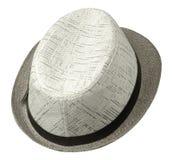 cappello con un bordo Cappello isolato su priorità bassa bianca Cappello grigio Fotografia Stock Libera da Diritti