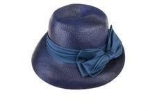 Cappello d'annata - paglia blu dress1 Immagine Stock Libera da Diritti
