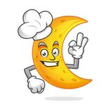 Cappello d'uso del cuoco unico della mascotte della luna del cuoco unico, carattere della luna, fumetto della luna Immagini Stock
