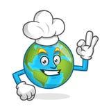 Cappello d'uso del cuoco unico della mascotte della terra del cuoco unico, carattere della terra, carto della terra Immagine Stock