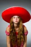 Cappello d'uso del sombrero della donna Fotografie Stock Libere da Diritti