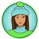 Cappello d'uso della bella ragazza Immagini Stock Libere da Diritti