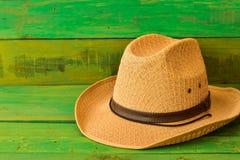 Cappello da cowboy di Brown su struttura di legno verde Immagine Stock