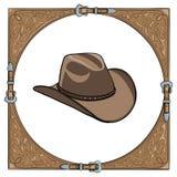 Cappello da cowboy nel telaio di cuoio occidentale su fondo bianco royalty illustrazione gratis