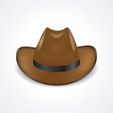 Cappello da cowboy su fondo bianco, vista frontale, cappello dello sceriffo Fotografia Stock