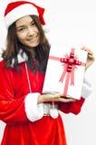 Cappello del Babbo Natale con il contenitore di regalo grigio di natale Fotografie Stock