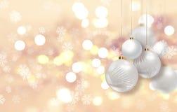Cappello del Babbo Natale con le sfere dell'albero Fotografia Stock
