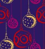 Cappello del Babbo Natale con le sfere dell'albero Decorazione stagionale di inverno Vettore Fotografia Stock Libera da Diritti