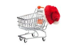 Cappello del Babbo Natale e del carrello Immagini Stock Libere da Diritti