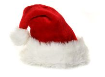 Cappello del Babbo Natale su bianco Fotografia Stock
