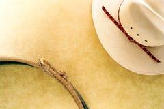 Cappello del cowboy del rodeo e Lasso ad ovest americani del Lariat Fotografia Stock