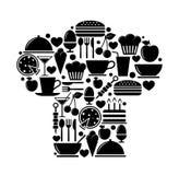 Cappello del cuoco unico dalle icone dell'alimento Fotografie Stock