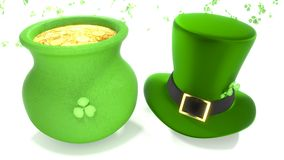 Cappello del giorno di San Patrizio e vaso di oro Fotografie Stock