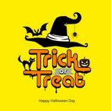 Cappello del messaggio di scherzetto o dolcetto, zucca, gatto, giorno felice di Halloween di progettazione del pipistrello Immagini Stock