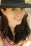 Cappello del paese della ragazza del paese Fotografia Stock Libera da Diritti