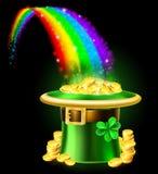 Cappello dell'arcobaleno del leprechaun di giorno della st Patricks di oro Fotografie Stock