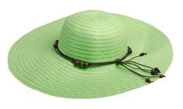 Cappello della donna isolato su fondo bianco Cappello della spiaggia del ` s delle donne Il Gr Immagine Stock Libera da Diritti