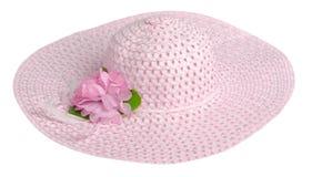 Cappello della donna isolato su fondo bianco Cappello della spiaggia del ` s delle donne Pi Fotografia Stock Libera da Diritti