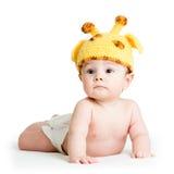 Cappello della giraffa weared neonato Fotografie Stock