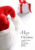 Cappello della Santa & casella di chrismas (facile rimuovere il testo) Immagine Stock