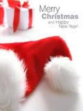 Cappello della Santa & casella di chrismas (facile rimuovere il testo) Fotografia Stock Libera da Diritti
