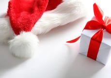 Cappello della Santa & casella di chrismas (facile rimuovere il testo) Immagini Stock Libere da Diritti