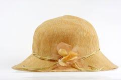Cappello della signora paglia con il nastro del fiore Fotografia Stock