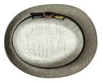 Cappello della spiaggia isolato su fondo bianco Cappello grigio Immagini Stock Libere da Diritti