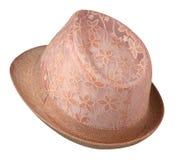 Cappello della spiaggia isolato su fondo bianco Cappello rosa Fotografie Stock