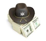 Cappello dello sceriffo del dollaro Fotografia Stock Libera da Diritti