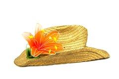 Cappello di Brown con il giglio arancio Immagini Stock Libere da Diritti